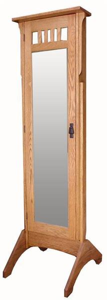 Amish Hardwood Mission Jewelry Mirror