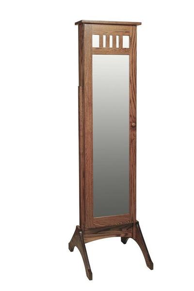 Amish Hardwood Mission Jewelry Mirror with Sliding Door