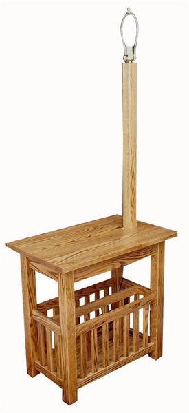 Amish Hardwood Mission Lamp Stand with Magazine Rack