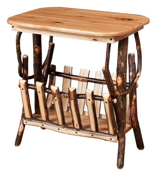 Amish Rounded Corner End Table with Magazine Rack