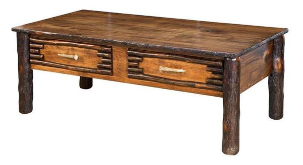 Amish Wildwood Rustic Coffee Table with Antler Pulls