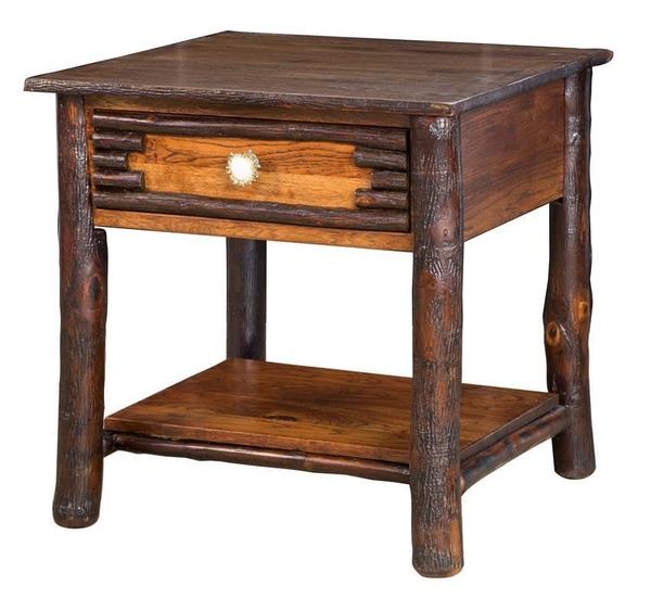 Amish Wildwood Rustic Hickory End Table with Antler Pulls