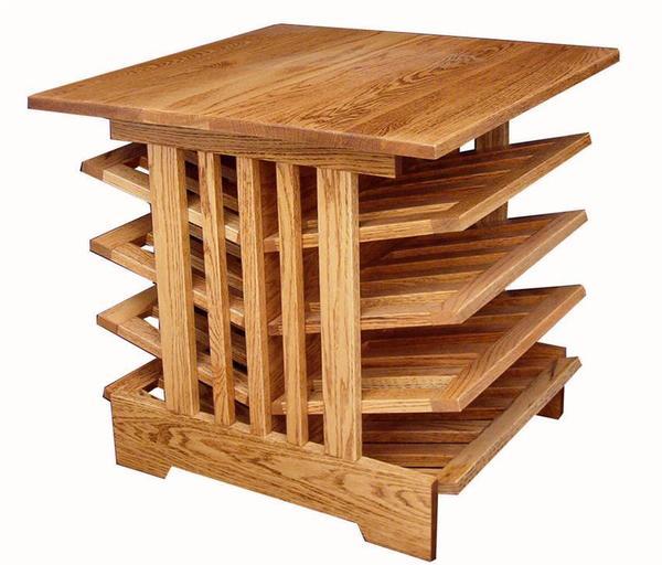 Amish Hardwood Full Size Deluxe Mission Magazine Table