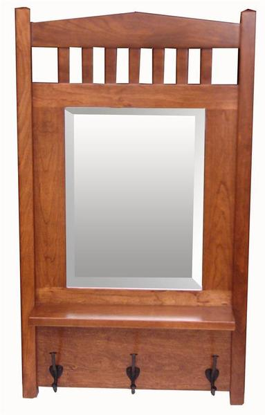 Amish Hardwood Mission Mirror with Shelf