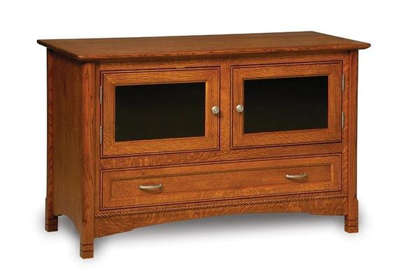 Amish West Lake LCD Stand with Two Doors and Drawer