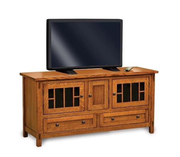 "Amish Centennial Mission 60"" TV Stand with Three Doors"
