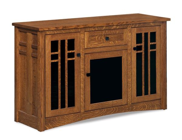Amish Kascade Mission TV Stand with Three Doors and Drawer