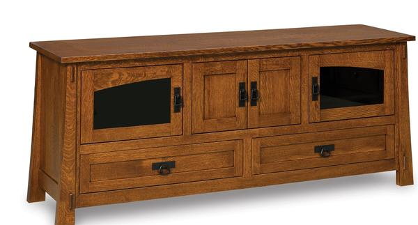 Amish Modesto Mission TV Stand with Four Doors and Two Drawers
