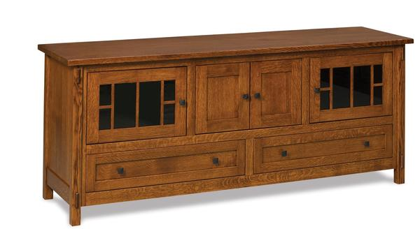 Amish Centennial TV Stand with Four Doors and Two Drawers