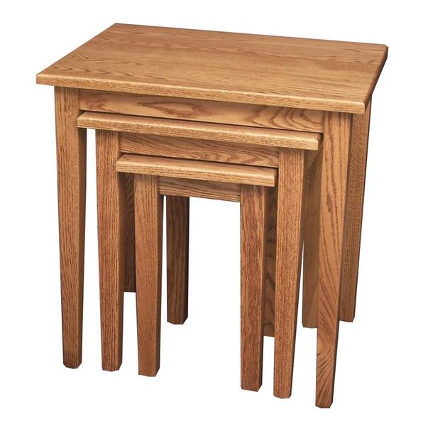 Amish Hardwood Nesting Table Set with Shaker Leg