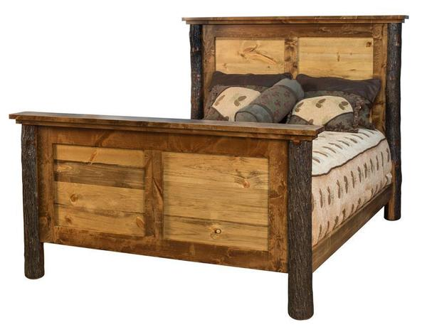 Amish Wildwood Rustic Hickory Panel Bed