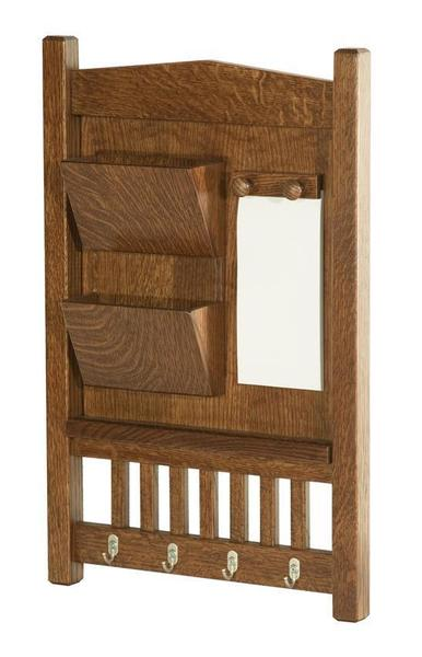 Amish Hardwood Mission Letter Holder with Brushed Nickel Key Hooks