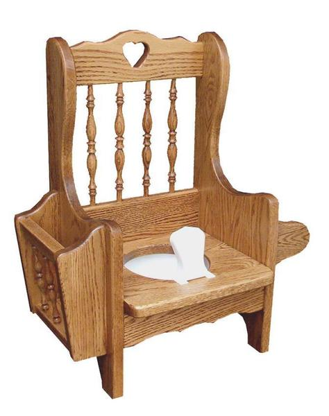Amish Oak Wood Spindle Potty Chair