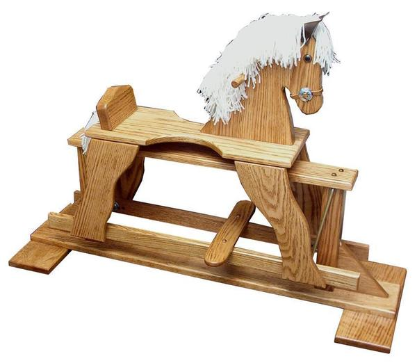 Amish Oak Wood Rocking Horse Glider