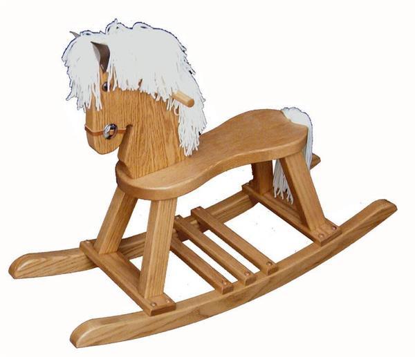 Oak Wood Small Regular Rocking Horse with Straight Legs