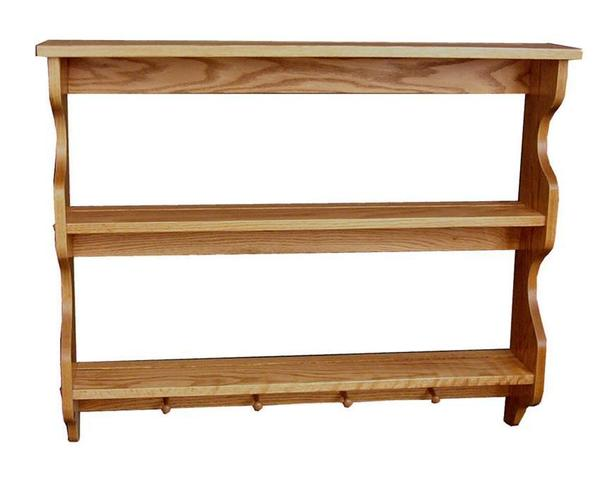 Amish Oak Wood Three Tier Shelf with Pegs
