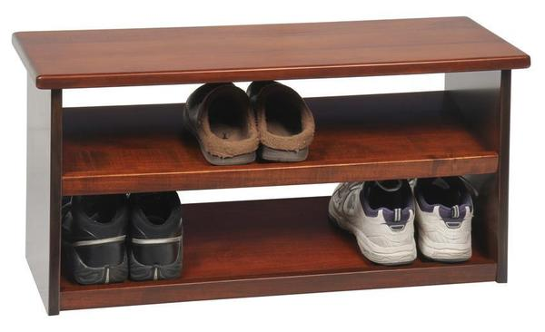 Amish Hardwood Shoe Storage Bench