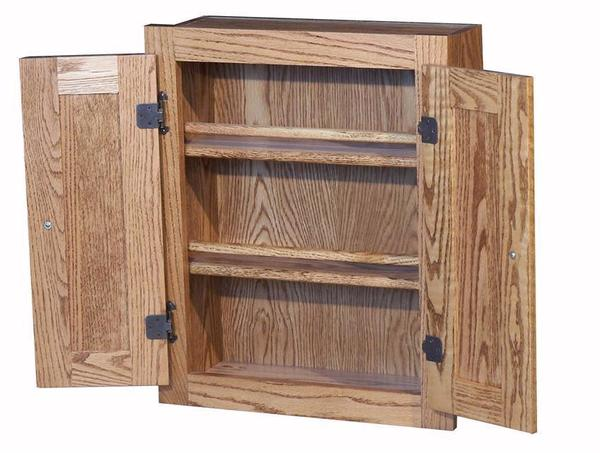 Amish Oak Spice Cabinet with Raised Panel Doors