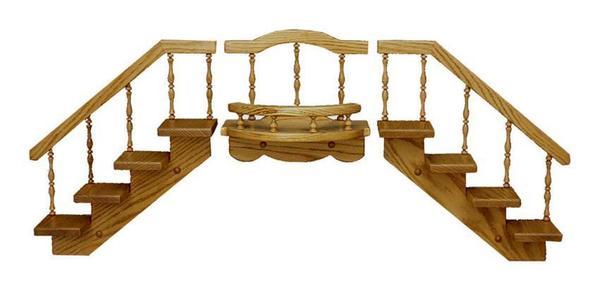 Amish Oak Wood Stairstep Shelf Set with Spindle