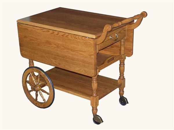 Amish Wood Bar Cart Stand