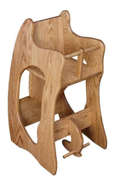 Amish Hardwood Three-in-One High Chair Rocker and Desk