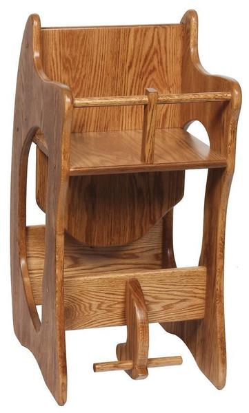 Amish Hardwood Three-in-One Highchair Rocker and Desk - Wide Size