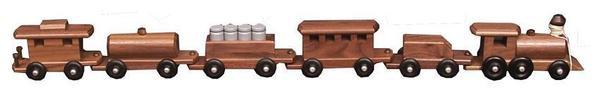 Amish Walnut Wood Medium Train Set