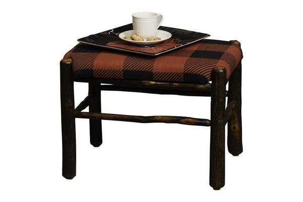 Amish Rustic Hickory Log Fireside Upholstered Footstool