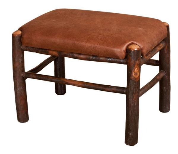Amish Rustic Hickory Fireside Upholstered Footstool