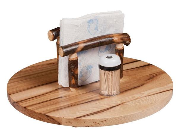 Amish Rustic Hickory Lazy Susan