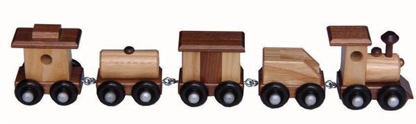 Amish Small Ash and Walnut Wood Toy Train