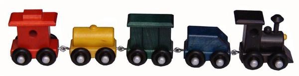 Amish Solid Wood Small Painted Train Toy