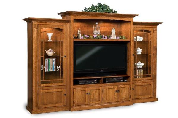 Amish Manhattan Mission Entertainment Center Wall Unit with Bookcases