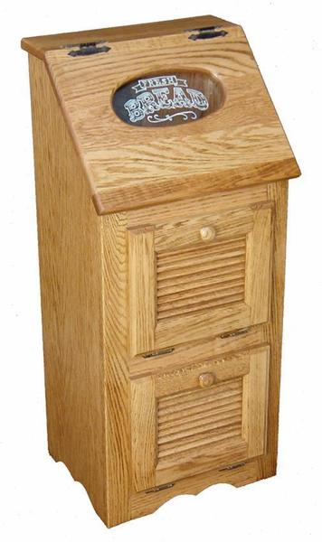 Amish Hardwood Veggie Bin with Louver Doors