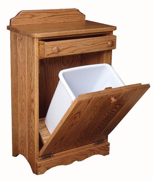 Hardwood Tilt-out Waste Bin with Drawer