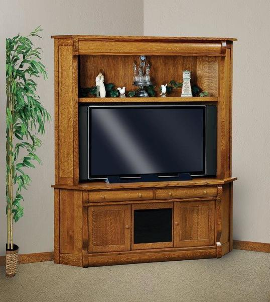 Amish Classic Sleigh Two Piece Corner Entertainment Center