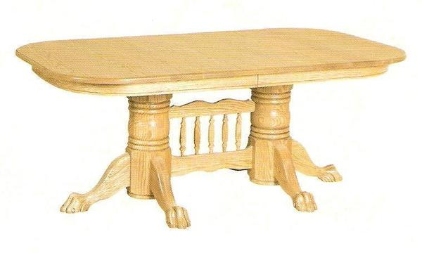"Amish 72"" Double Pedestal Newport Dining Table with Center"