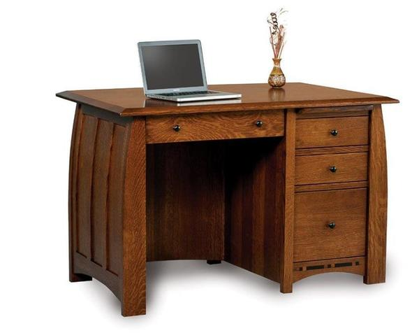 Amish Boulder Creek Four Drawers Desk with Unfinished Backside