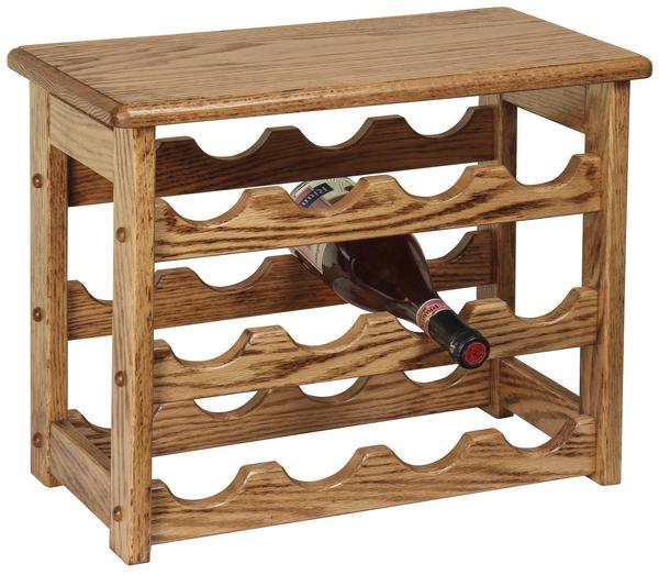 Amish Hardwood Medium Wine Rack with Top