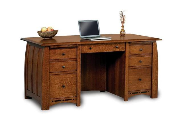 Amish Boulder Creek Seven Drawers Desk with Unfinished Backside