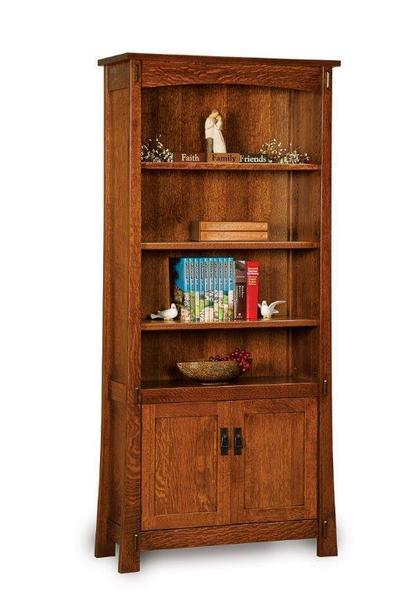 Amish Modesto Mission Bookcase with Two Doors