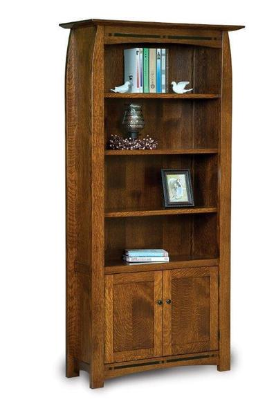Amish Boulder Creek Bookcase with Four Shelves and Two Doors
