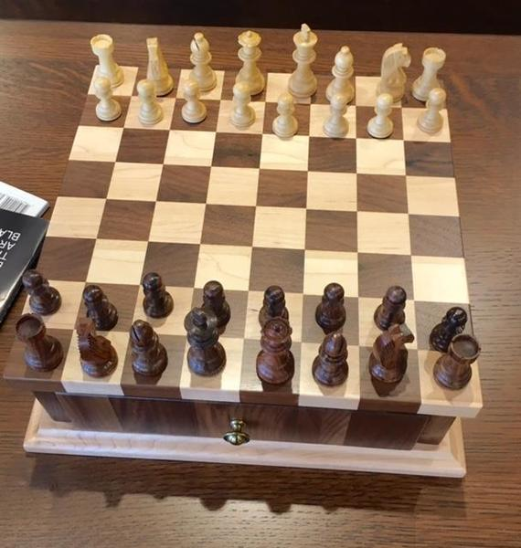 Amish Solid Wood Chess Set and Checker Set with Storage Drawer