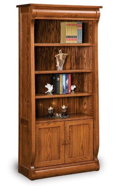 Amish Solid Wood Old Classic Sleigh Bookcase