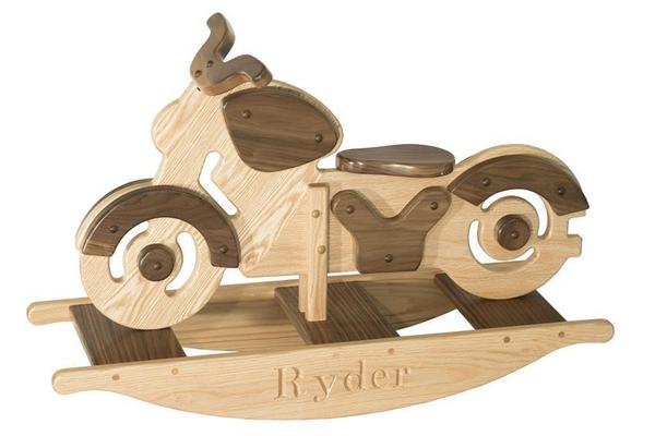 Amish Wooden Kids Motorcycle Rocker