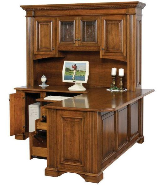 "Amish Lincoln 72"" L Corner Desk with Optional Hutch Top"