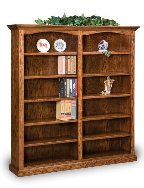 Amish Hoosier Heritage Double Bookcase with Ten Shelves