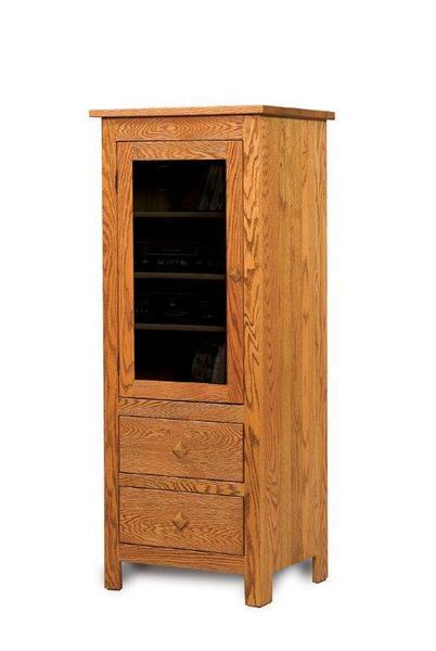 Amish Mission Stereo Cabinet with Two Drawers and Door