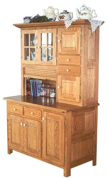 Amish Merediths Hoosier Country Hutch with Raised Panel and Glass Doors in Oak Wood