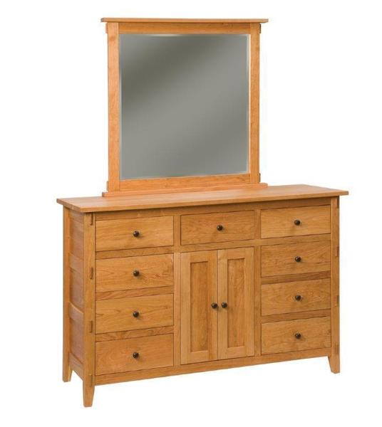 Amish Raleigh Dresser with Nine Drawers and Two Doors